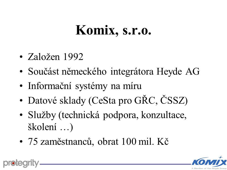Komix, s.r.o. Založen 1992 Součást německého integrátora Heyde AG Informační systémy na míru Datové sklady (CeSta pro GŘC, ČSSZ) Služby (technická pod
