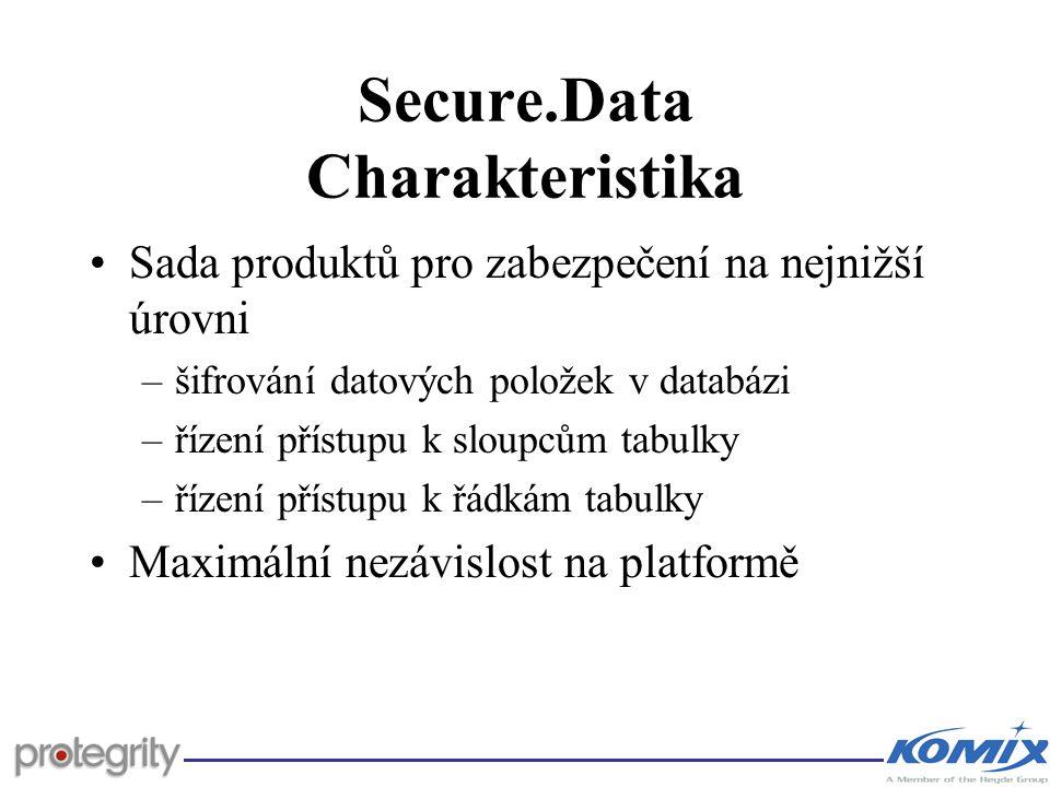 Secure.Data Charakteristika Sada produktů pro zabezpečení na nejnižší úrovni –šifrování datových položek v databázi –řízení přístupu k sloupcům tabulk