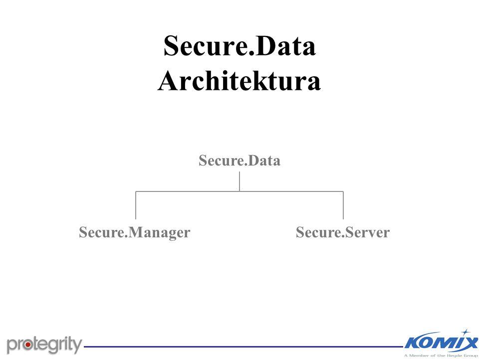 Secure.Data Architektura Aplikační server Databázový serverSecure.ServerSecure.Manager Zašifrovaná S.M.