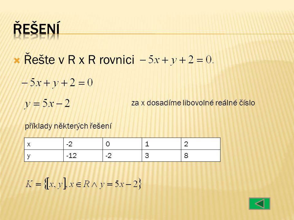  Řešte v R x R rovnici za x dosadíme libovolné reálné číslo příklady některých řešení x012 y-313