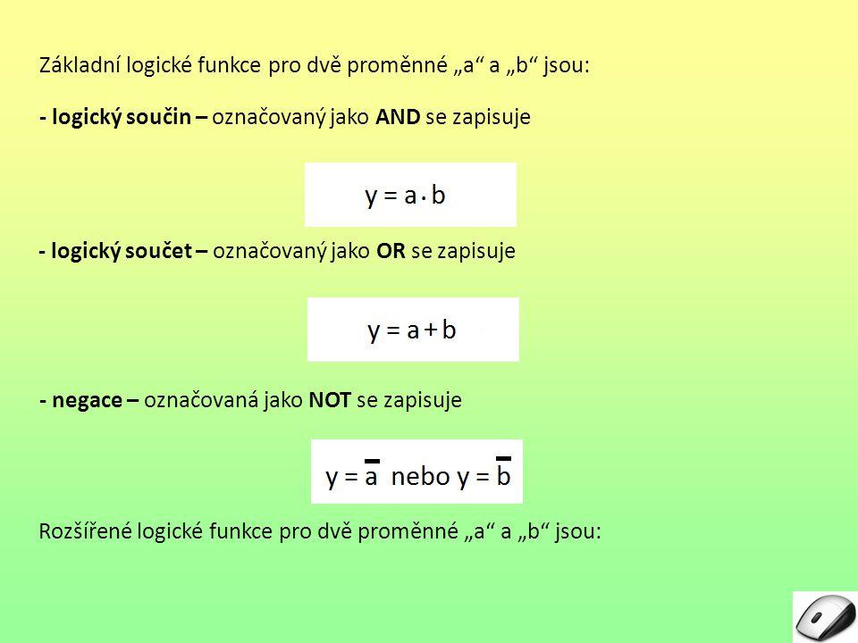 """Základní logické funkce pro dvě proměnné """"a"""" a """"b"""" jsou: - logický součin – označovaný jako AND se zapisuje - logický součet – označovaný jako OR se z"""