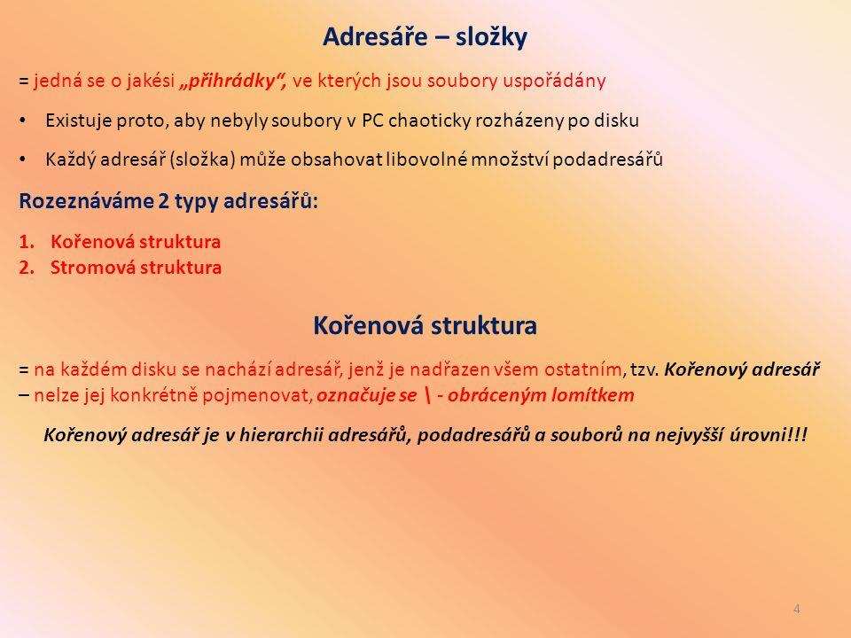 """4 Adresáře – složky = jedná se o jakési """"přihrádky"""", ve kterých jsou soubory uspořádány Existuje proto, aby nebyly soubory v PC chaoticky rozházeny po"""