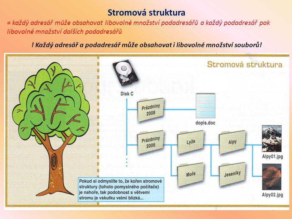 5 Stromová struktura = každý adresář může obsahovat libovolné množství podadresářů a každý podadresář pak libovolné množství dalších podadresářů ! Kaž