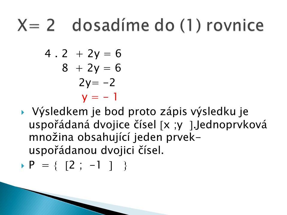 4. 2 + 2y = 6 8 + 2y = 6 2y= -2 y = - 1  Výsledkem je bod proto zápis výsledku je uspořádaná dvojice čísel  x ;y .Jednoprvková množina obsahující j