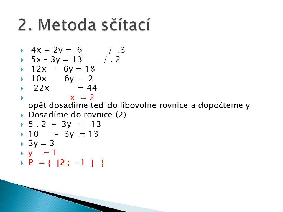  4x + 2y = 6 /.3  5x – 3y = 13 /. 2  12x + 6y = 18  10x - 6y = 2  22x = 44  x = 2 opět dosadíme teď do libovolné rovnice a dopočteme y  Dosadím
