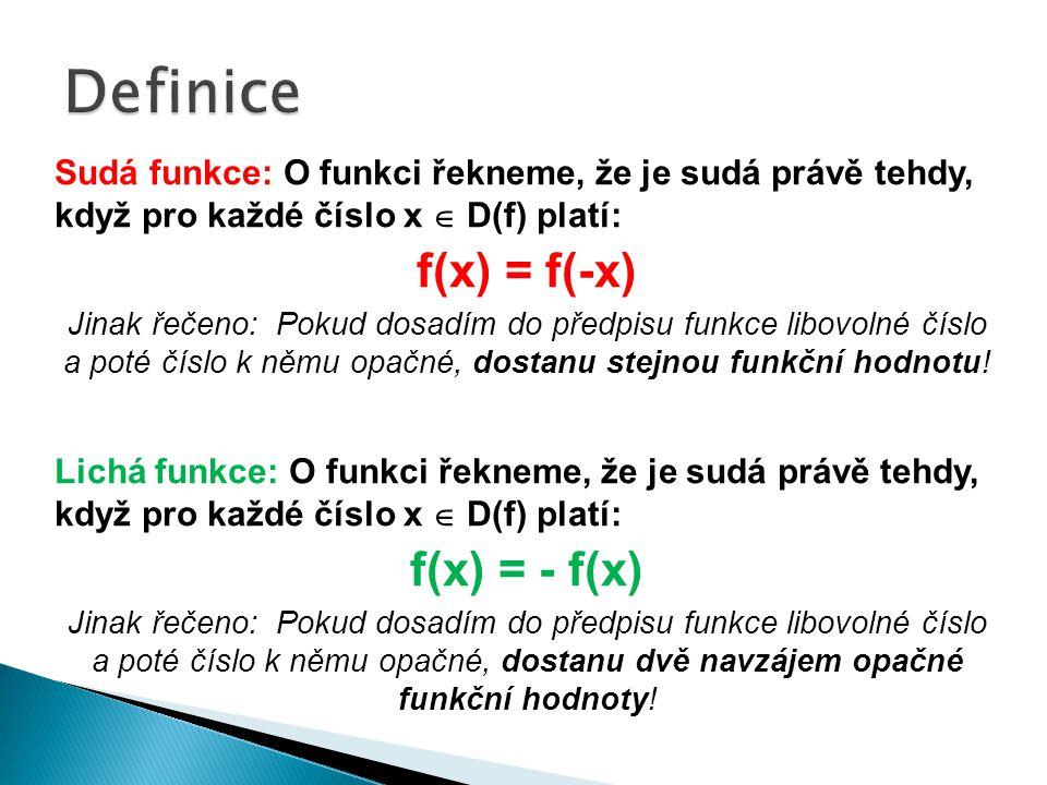 Sudá funkce: O funkci řekneme, že je sudá právě tehdy, když pro každé číslo x  D(f) platí: f(x) = f(-x) Jinak řečeno: Pokud dosadím do předpisu funkce libovolné číslo a poté číslo k němu opačné, dostanu stejnou funkční hodnotu.