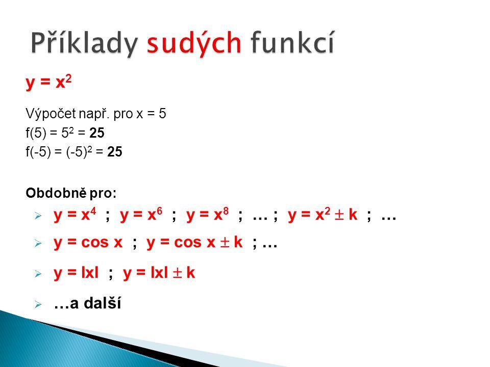 y = x 2 Výpočet např. pro x = 5 f(5) = 5 2 = 25 f(-5) = (-5) 2 = 25 Obdobně pro:  y = x 4 ; y = x 6 ; y = x 8 ; … ; y = x 2  k ; …  y = cos x ; y =