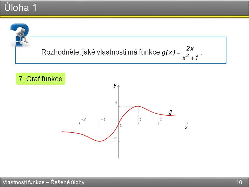Úloha 1 Vlastnosti funkce – Řešené úlohy 10 Rozhodněte, jaké vlastnosti má funkce. 7. Graf funkce y x 0 −1 1 12−2−1 g
