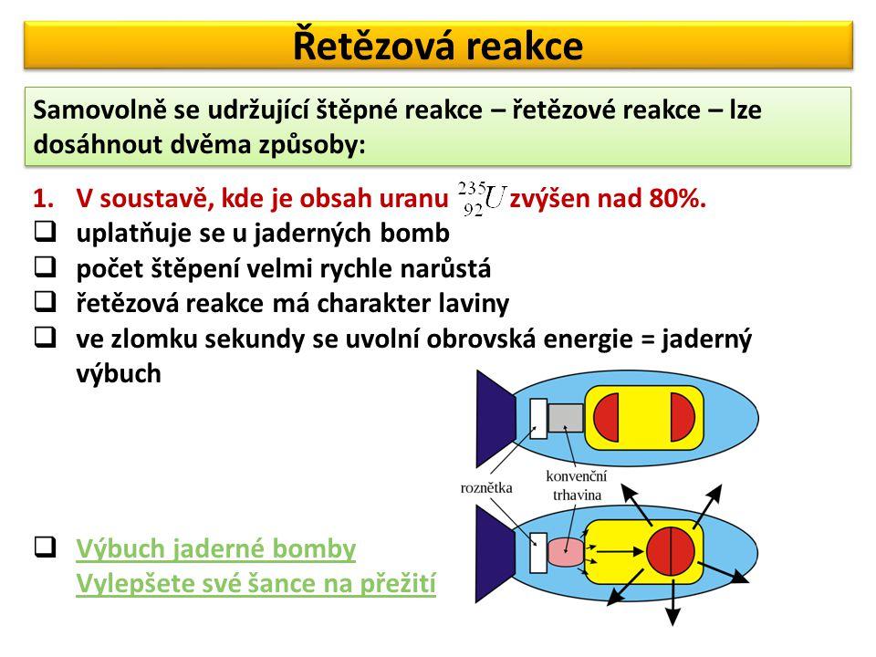 Řetězová reakce Samovolně se udržující štěpné reakce – řetězové reakce – lze dosáhnout dvěma způsoby: 1.V soustavě, kde je obsah uranu zvýšen nad 80%.