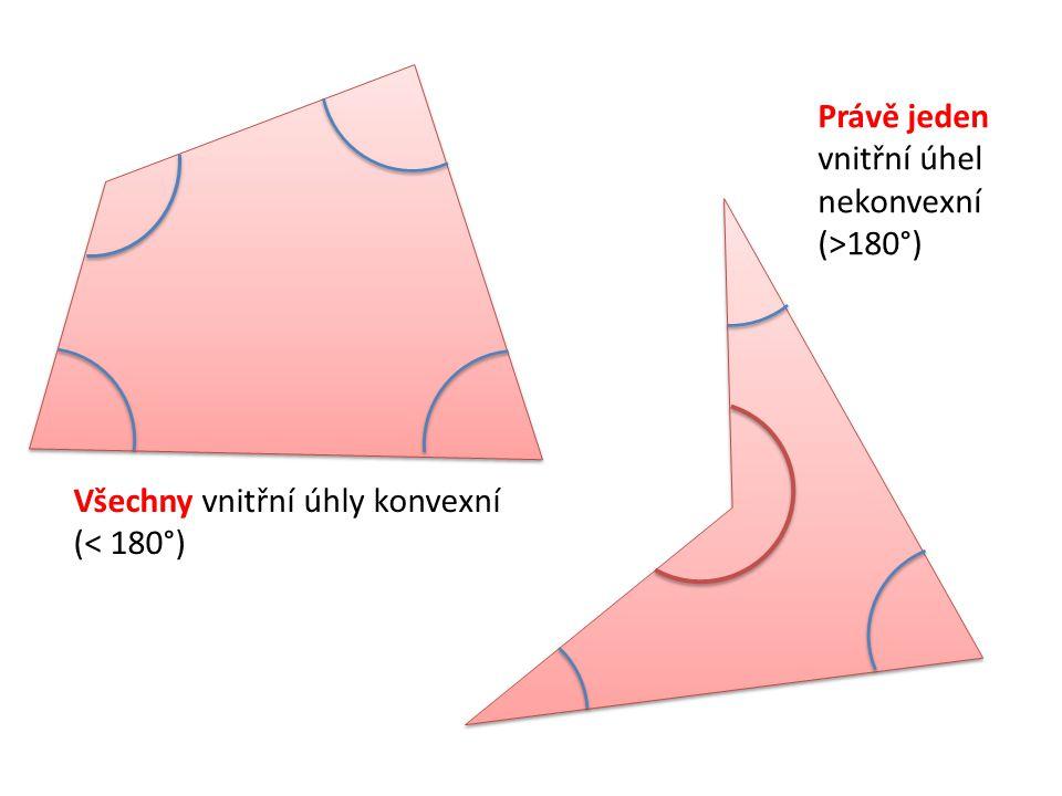 Všechny vnitřní úhly konvexní (< 180°) Právě jeden vnitřní úhel nekonvexní (>180°)