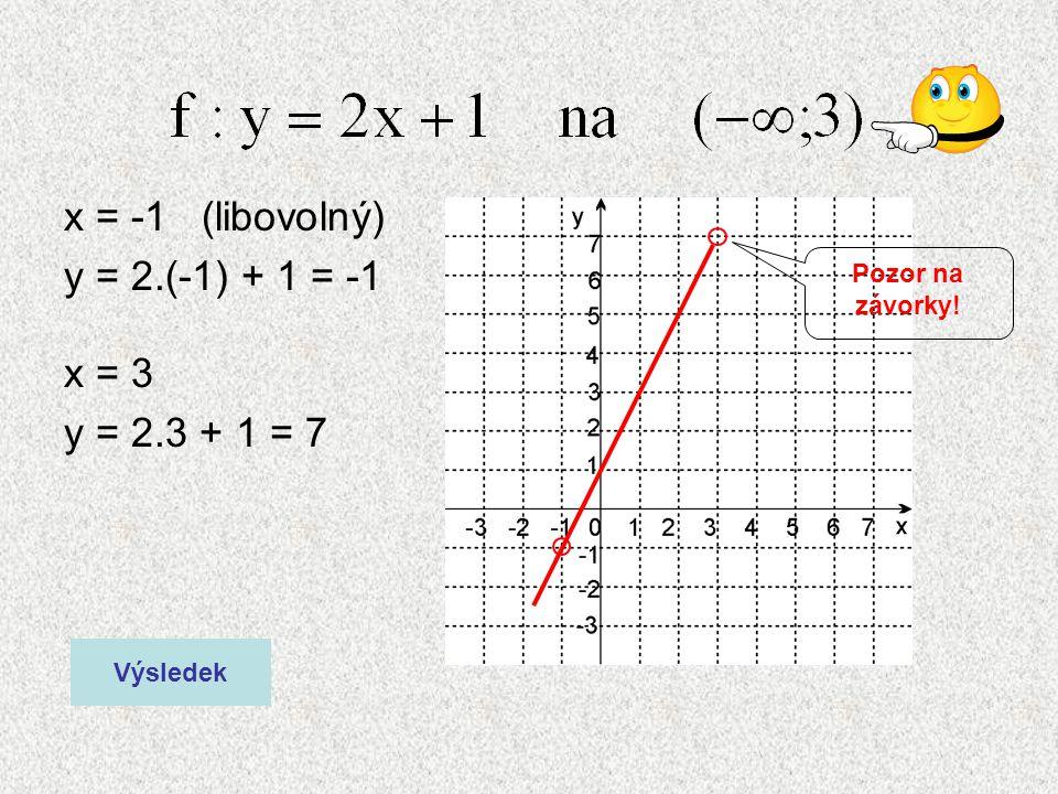 x = -1 (libovolný) y = 2.(-1) + 1 = -1 x = 3 y = 2.3 + 1 = 7 Výsledek Pozor na závorky!