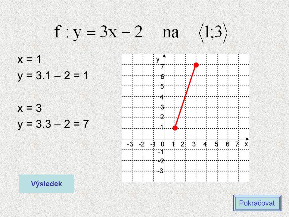 x = 1 y = 3.1 – 2 = 1 x = 3 y = 3.3 – 2 = 7 Výsledek Pokračovat