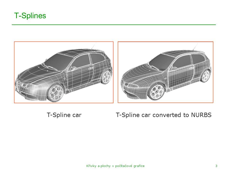 Křivky a plochy v počítačové grafice3 T-Splines T-Spline carT-Spline car converted to NURBS