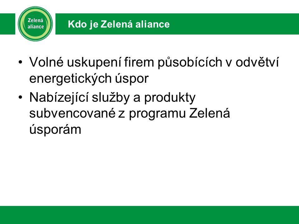 Volné uskupení firem působících v odvětví energetických úspor Nabízející služby a produkty subvencované z programu Zelená úsporám Kdo je Zelená aliance