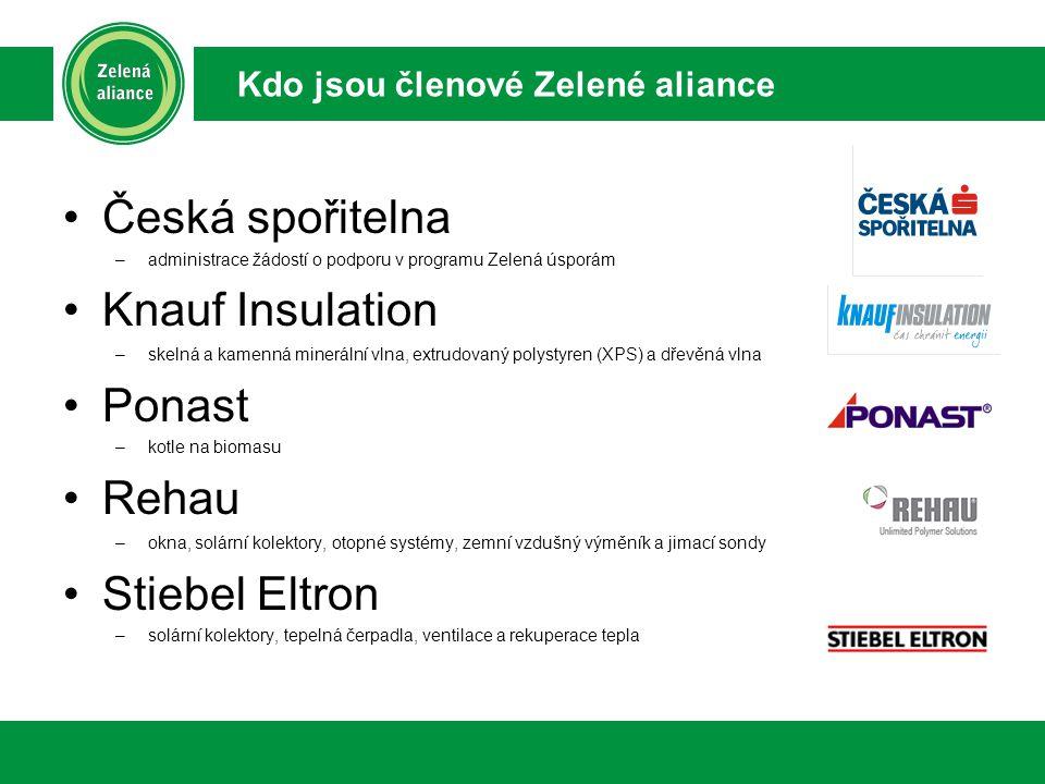 Česká spořitelna –administrace žádostí o podporu v programu Zelená úsporám Knauf Insulation –skelná a kamenná minerální vlna, extrudovaný polystyren (XPS) a dřevěná vlna Ponast –kotle na biomasu Rehau –okna, solární kolektory, otopné systémy, zemní vzdušný výměník a jimací sondy Stiebel Eltron –solární kolektory, tepelná čerpadla, ventilace a rekuperace tepla Kdo jsou členové Zelené aliance