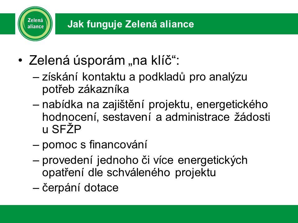 """Zelená úsporám """"na klíč : –získání kontaktu a podkladů pro analýzu potřeb zákazníka –nabídka na zajištění projektu, energetického hodnocení, sestavení a administrace žádosti u SFŽP –pomoc s financování –provedení jednoho či více energetických opatření dle schváleného projektu –čerpání dotace Jak funguje Zelená aliance"""