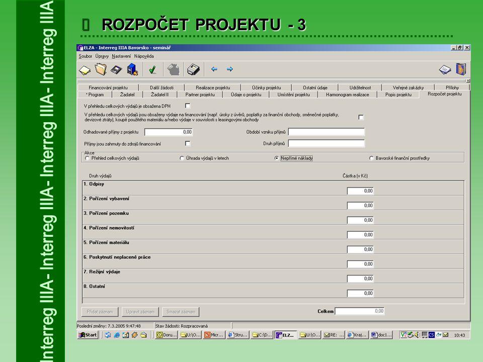  ROZPOČET PROJEKTU - 3