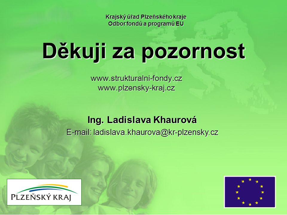 Děkuji za pozornost Krajský úřad Plzeňského kraje Odbor fondů a programů EU www.strukturalni-fondy.czwww.plzensky-kraj.cz Ing.