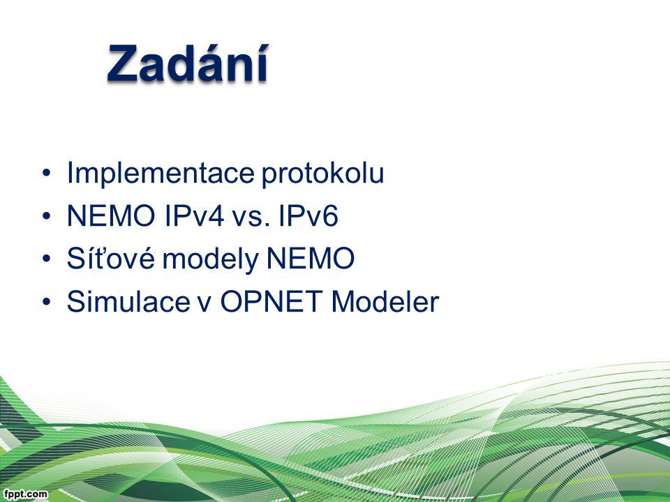 Implementace protokolu NEMO IPv4 vs. IPv6 Síťové modely NEMO Simulace v OPNET Modeler ZadáníZadání