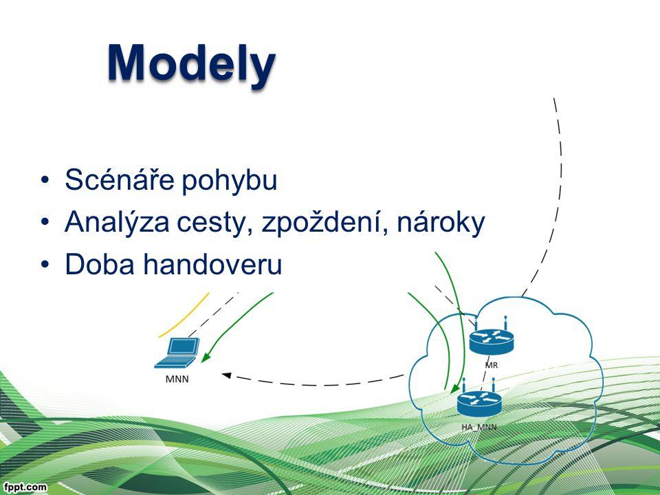 ModelyModely Scénáře pohybu Analýza cesty, zpoždení, nároky Doba handoveru