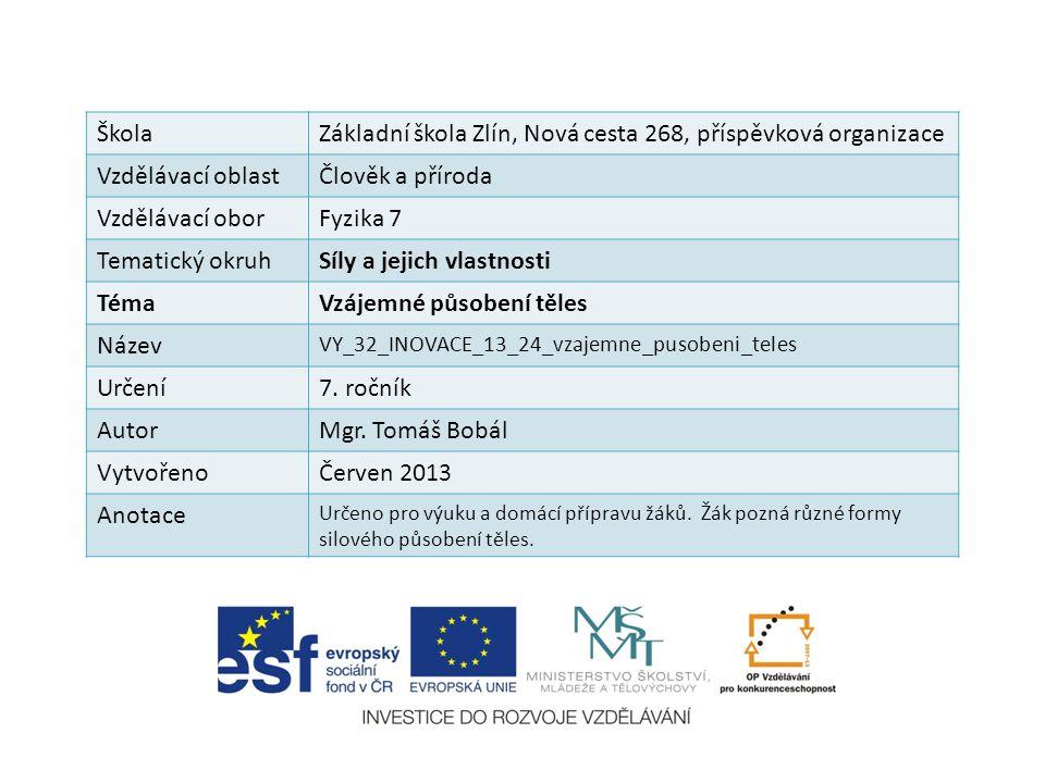 ŠkolaZákladní škola Zlín, Nová cesta 268, příspěvková organizace Vzdělávací oblastČlověk a příroda Vzdělávací oborFyzika 7 Tematický okruhSíly a jejic