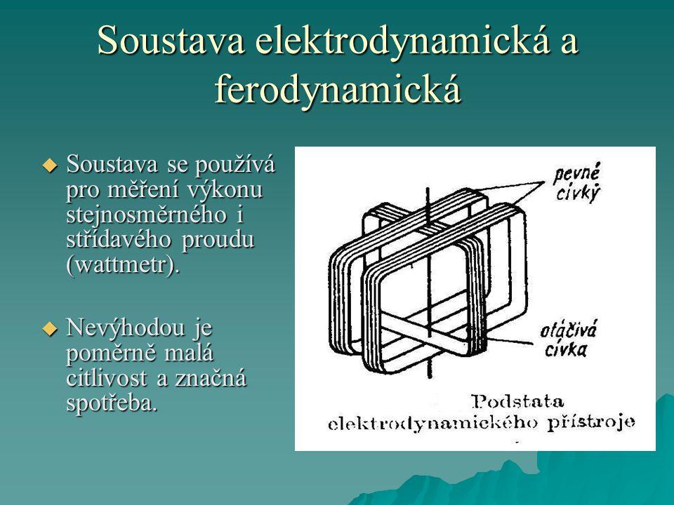 Soustava elektrodynamická a ferodynamická  Soustava se používá pro měření výkonu stejnosměrného i střídavého proudu (wattmetr).