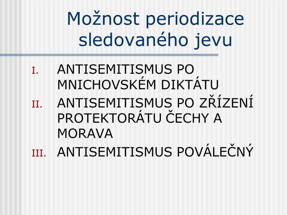 Možnost periodizace sledovaného jevu I. ANTISEMITISMUS PO MNICHOVSKÉM DIKTÁTU II.