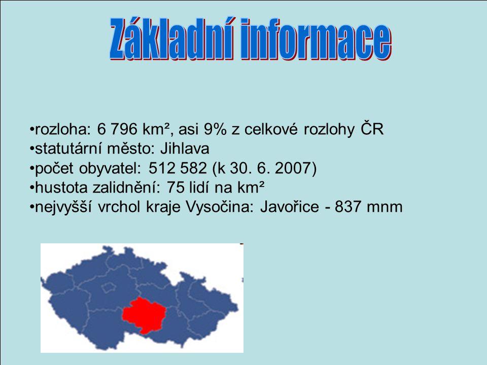 rozloha: 6 796 km², asi 9% z celkové rozlohy ČR statutární město: Jihlava počet obyvatel: 512 582 (k 30.