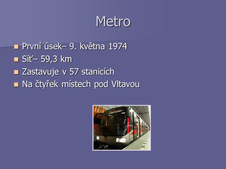 Metro První úsek– 9. května 1974 První úsek– 9. května 1974 Síť– 59,3 km Síť– 59,3 km Zastavuje v 57 stanicích Zastavuje v 57 stanicích Na čtyřek míst