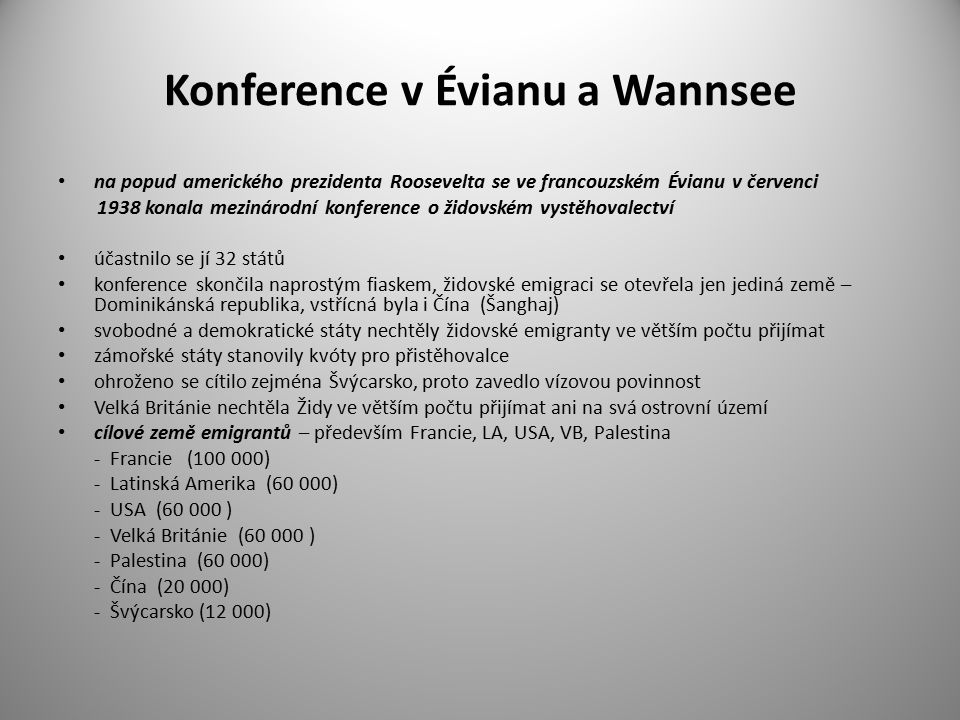 Konference v Évianu a Wannsee na popud amerického prezidenta Roosevelta se ve francouzském Évianu v červenci 1938 konala mezinárodní konference o žido