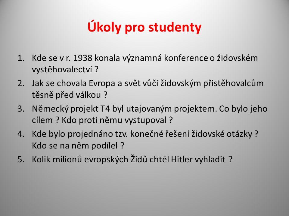 Úkoly pro studenty 1.Kde se v r. 1938 konala významná konference o židovském vystěhovalectví ? 2.Jak se chovala Evropa a svět vůči židovským přistěhov