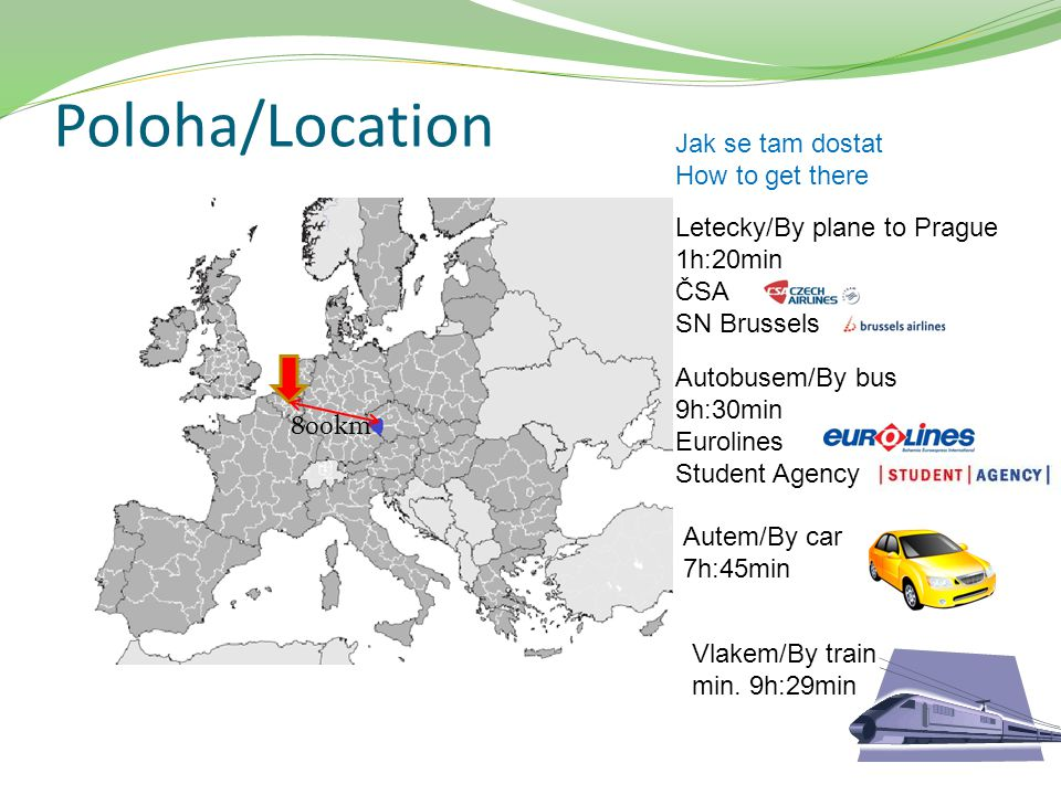 Poloha/Location Jak se tam dostat How to get there Letecky/By plane to Prague 1h:20min ČSA SN Brussels Autobusem/By bus 9h:30min Eurolines Student Age
