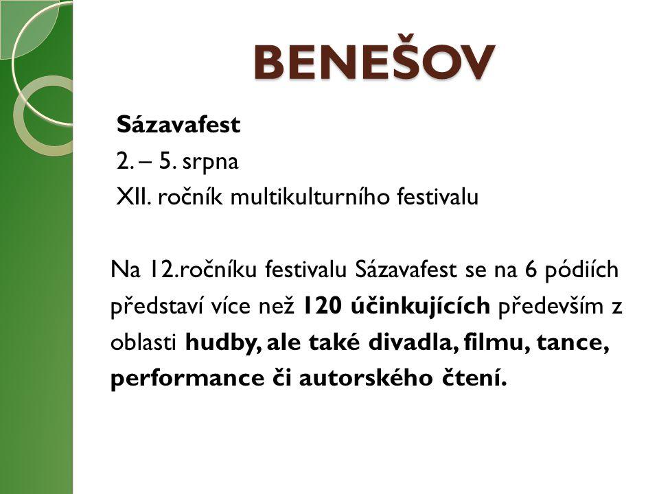 BENEŠOV Sázavafest 2. – 5. srpna XII. ročník multikulturního festivalu Na 12.ročníku festivalu Sázavafest se na 6 pódiích představí více než 120 účink
