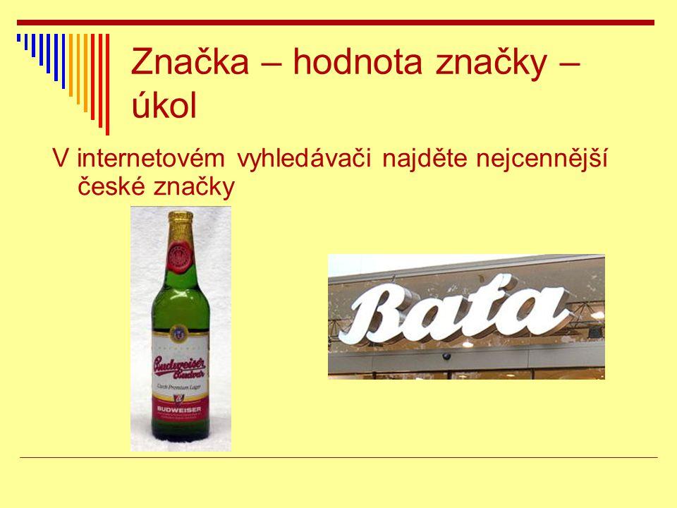 Značka – hodnota značky – úkol V internetovém vyhledávači najděte nejcennější české značky