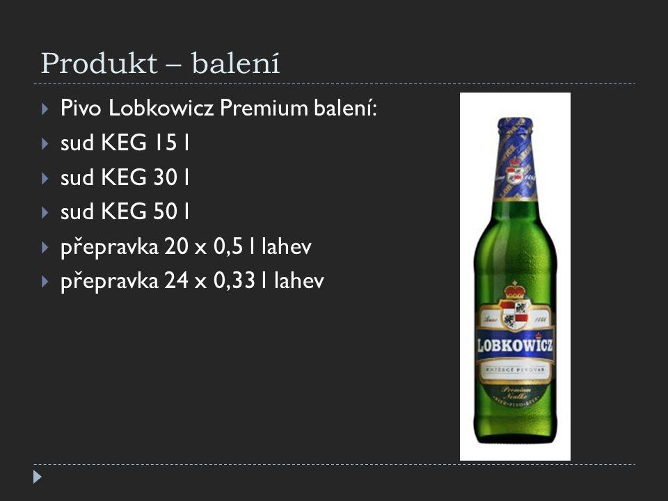 Produkt – balení  Pivo Lobkowicz Premium balení:  sud KEG 15 l  sud KEG 30 l  sud KEG 50 l  přepravka 20 x 0,5 l lahev  přepravka 24 x 0,33 l la
