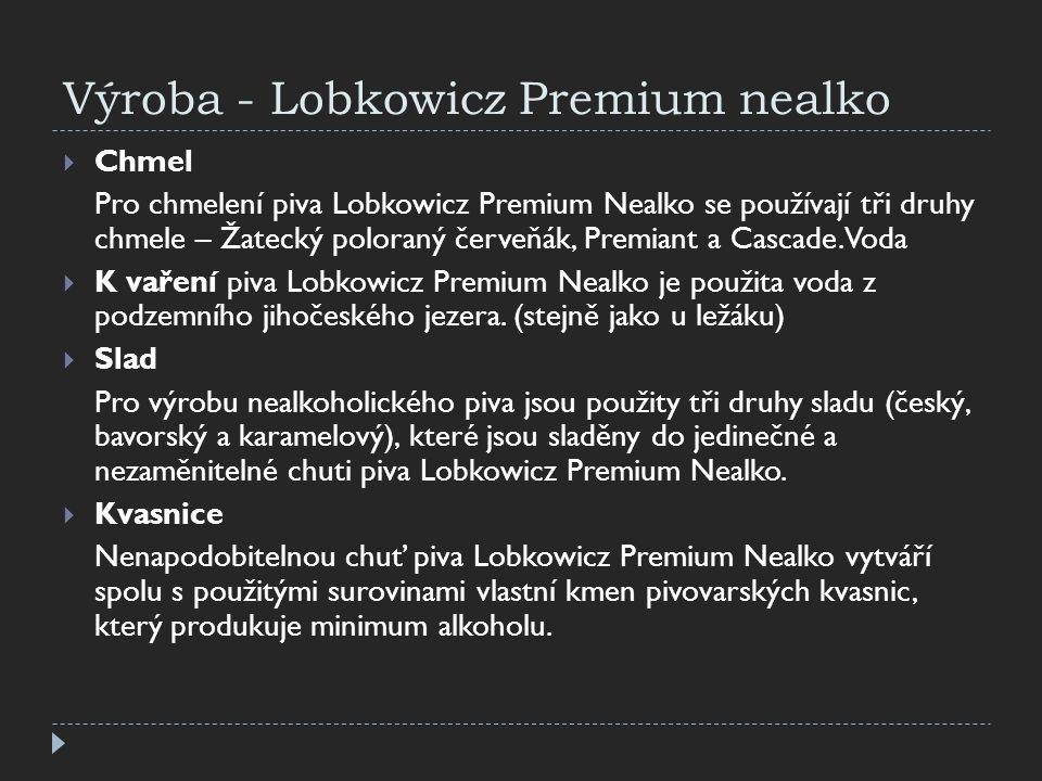 Výroba - Lobkowicz Premium nealko  Chmel Pro chmelení piva Lobkowicz Premium Nealko se používají tři druhy chmele – Žatecký poloraný červeňák, Premia