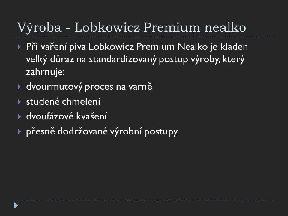 Výroba - Lobkowicz Premium nealko  Při vaření piva Lobkowicz Premium Nealko je kladen velký důraz na standardizovaný postup výroby, který zahrnuje: 