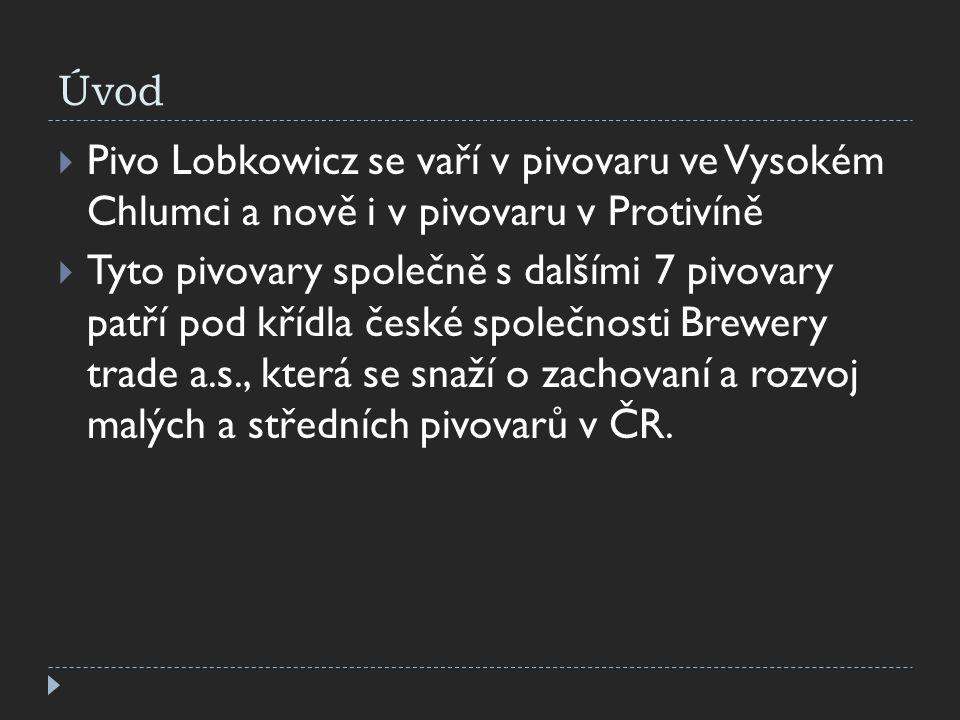 Úvod  Pivo Lobkowicz se vaří v pivovaru ve Vysokém Chlumci a nově i v pivovaru v Protivíně  Tyto pivovary společně s dalšími 7 pivovary patří pod kř