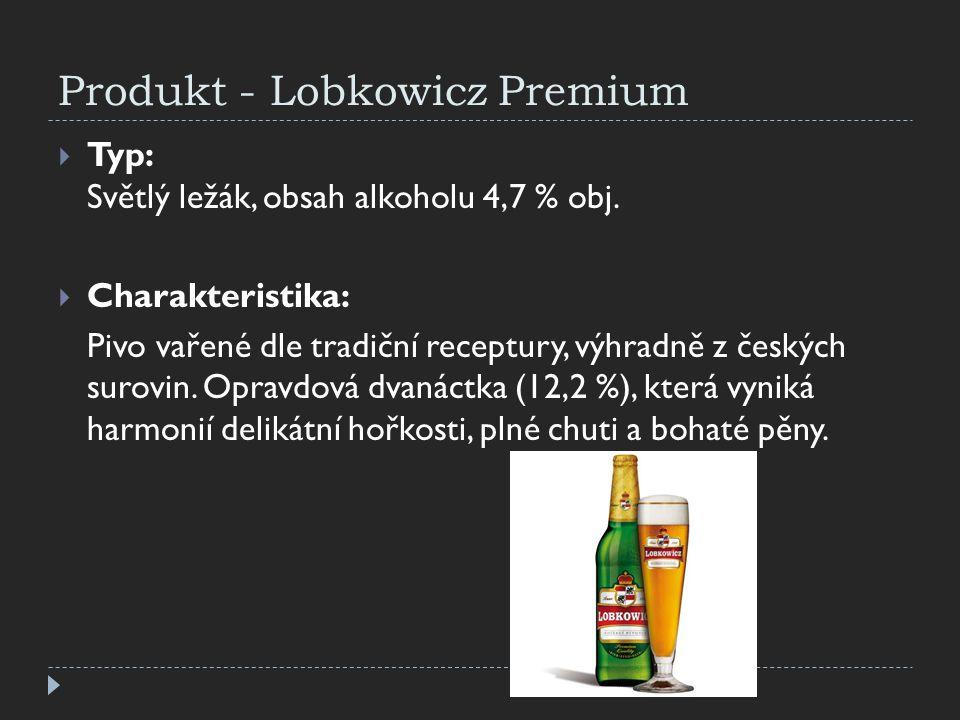 Produkt - Lobkowicz Premium  Typ: Světlý ležák, obsah alkoholu 4,7 % obj.  Charakteristika: Pivo vařené dle tradiční receptury, výhradně z českých s