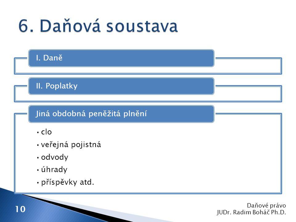 I.DaněII. Poplatky clo veřejná pojistná odvody úhrady příspěvky atd.