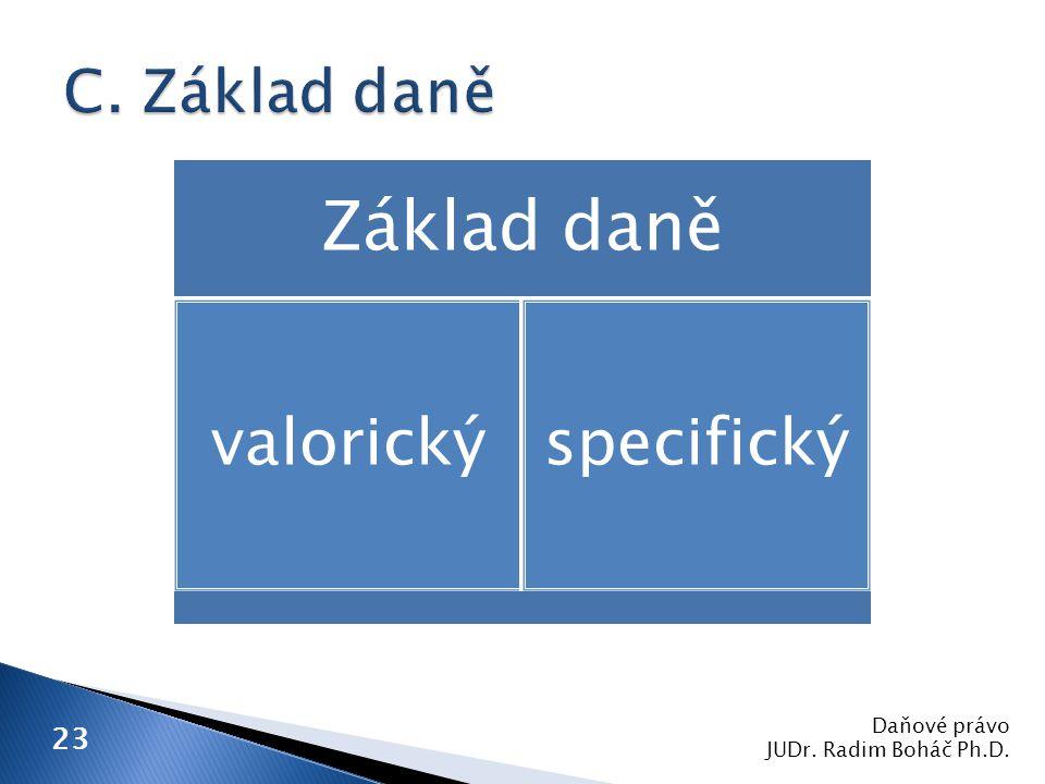 Daňové právo JUDr. Radim Boháč Ph.D. 23 Základ daně valorickýspecifický