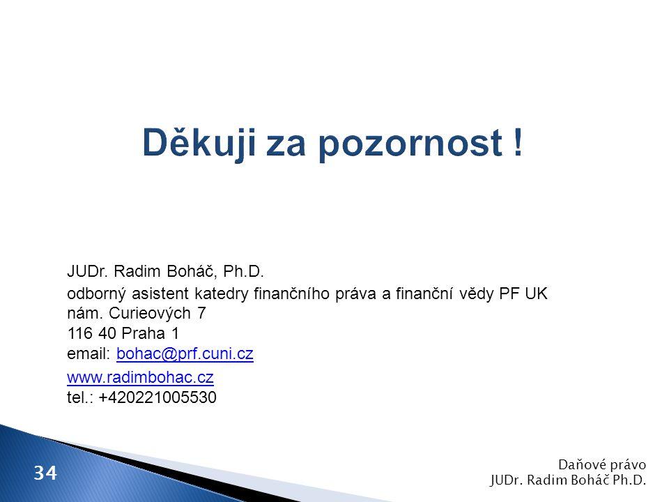 JUDr.Radim Boháč, Ph.D. odborný asistent katedry finančního práva a finanční vědy PF UK nám.