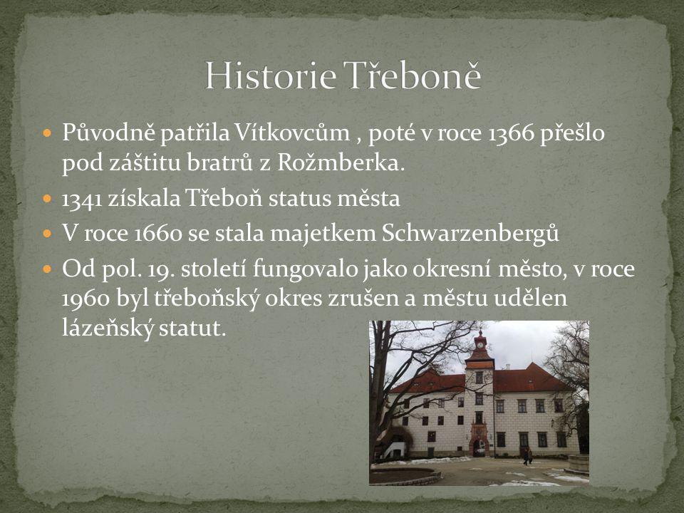 Původně patřila Vítkovcům, poté v roce 1366 přešlo pod záštitu bratrů z Rožmberka. 1341 získala Třeboň status města V roce 1660 se stala majetkem Schw