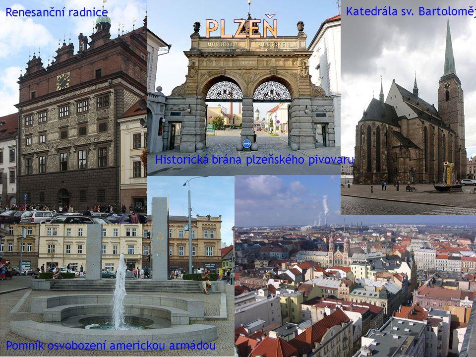 Renesanční radnice Pomník osvobození americkou armádou Katedrála sv.