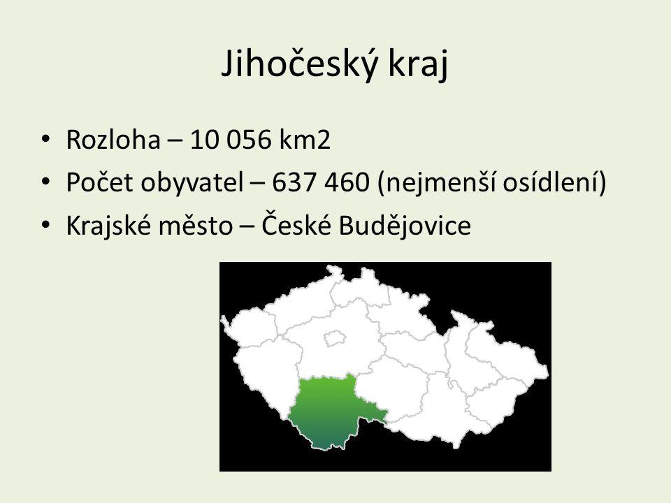 Jihočeský kraj Rozloha – 10 056 km2 Počet obyvatel – 637 460 (nejmenší osídlení) Krajské město – České Budějovice