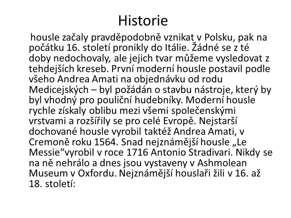 Historie housle začaly pravděpodobně vznikat v Polsku, pak na počátku 16. století pronikly do Itálie. Žádné se z té doby nedochovaly, ale jejich tvar