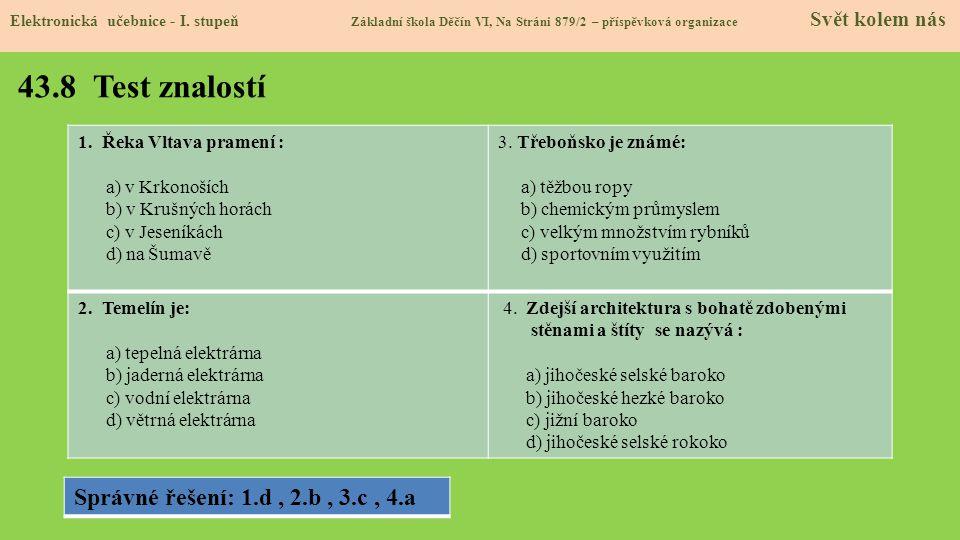 43.8 Test znalostí Elektronická učebnice - I.