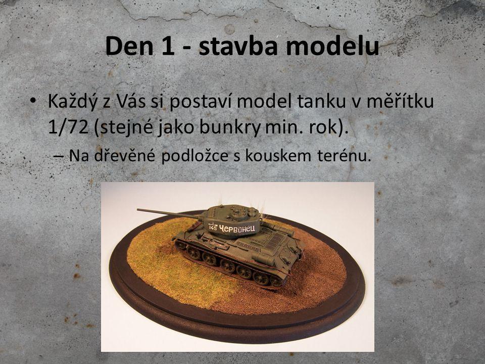 Den 1 - stavba modelu Každý z Vás si postaví model tanku v měřítku 1/72 (stejné jako bunkry min. rok). – Na dřevěné podložce s kouskem terénu.