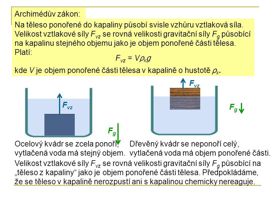 Archimédův zákon: Na těleso ponořené do kapaliny působí svisle vzhůru vztlaková síla. Velikost vztlakové síly F vz se rovná velikosti gravitační síly