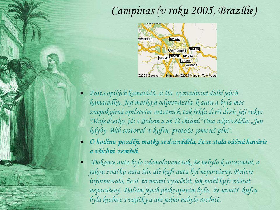 Campinas (v roku 2005, Brazílie) Parta opilých kamarádů, si šla vyzvednout další jejich kamarádku. Její matka ji odprovázela k autu a byla moc znepoko